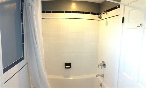 4x4 bathroom tile ceramic white 4x4 with black cove base tile listello and