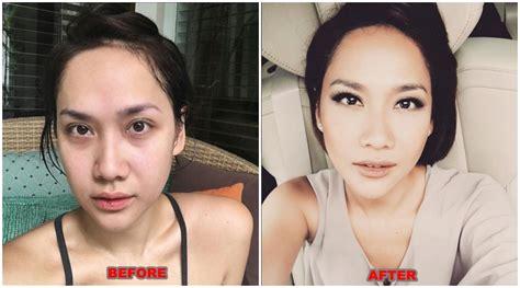 Pelembab Sebelum Make Up Lihat Seperti Ini Wajah Wajah Artis Indonesia Sebelum Dan