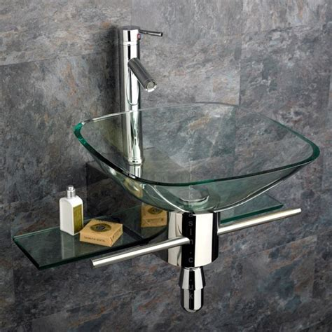 wall mount glass sink square clear glass wall mounted basin stainless