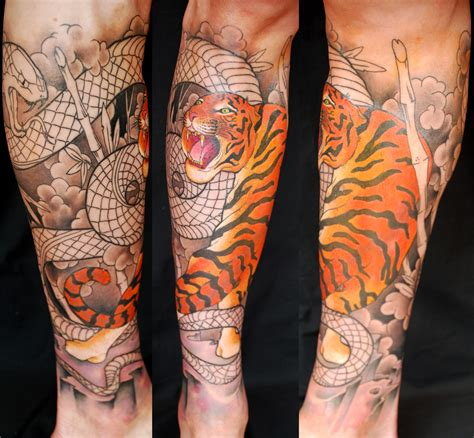 29 best japanese tiger sleeve calf sleeve tiger and snake in progress by fabrizio divari