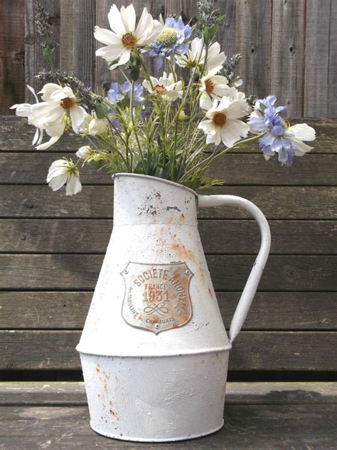Aged Metal Pitcher Garden Planter Vase By Cottageandsprout