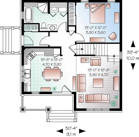 how big is 1100 square feet craftsman home plan 3 bedrms 2 baths 1343 sq ft