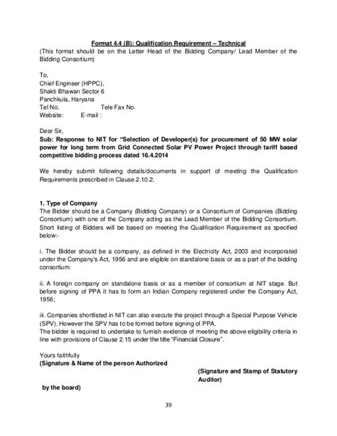 Letter Of Intent Tender Template Haryana Solar Bid Document Rfs
