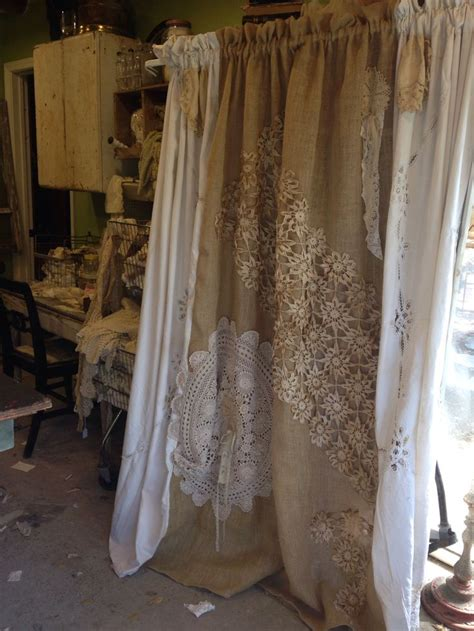 Burlap And Lace Curtains Pin By Tammie Harp On Farm House