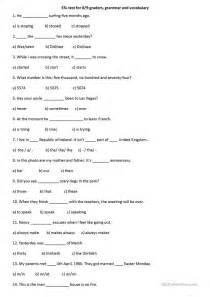 grammar and vocabulary test worksheet free esl printable