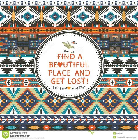 tribal pattern with quotes navajo seamless colorful tribal pattern stock vector