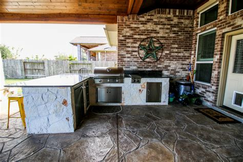 patio cover kitchen and fireplace katy tx