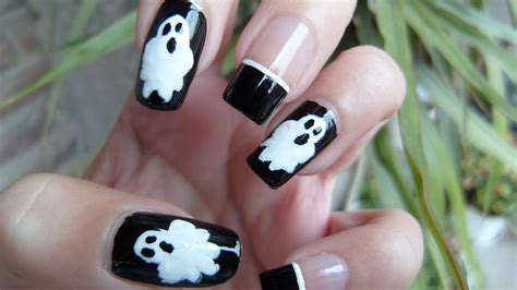 halloween nail art tutorial youtube ghost nail art tutorial for halloween youtube