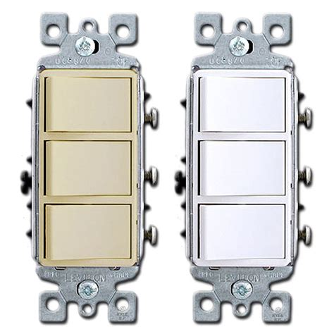 3 stacked single pole decora rocker switches leviton 1755