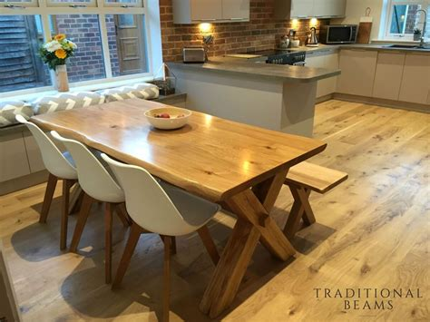 solid oak dining table cross leg design handmade in