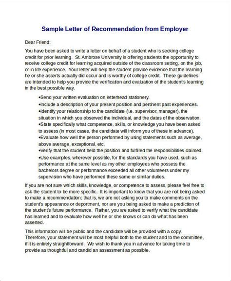 15 Sle Recommendation Letters For Employment In Word Sle Templates Letter Of Recommendation Template From Employer