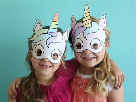 easy diy masks unicorn masks to print and color free printable it s