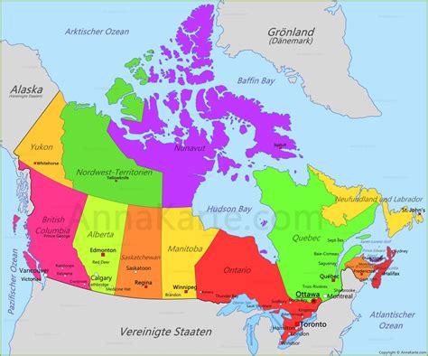 map du canada kanada karte annakarte