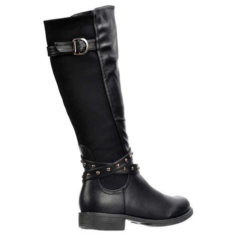 shoekandi boots knee high buckles and studs