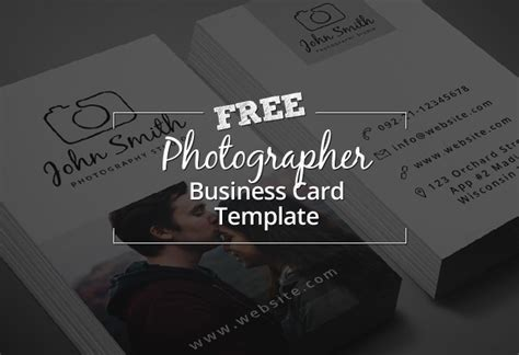 freebie minimal photographer business card psd template