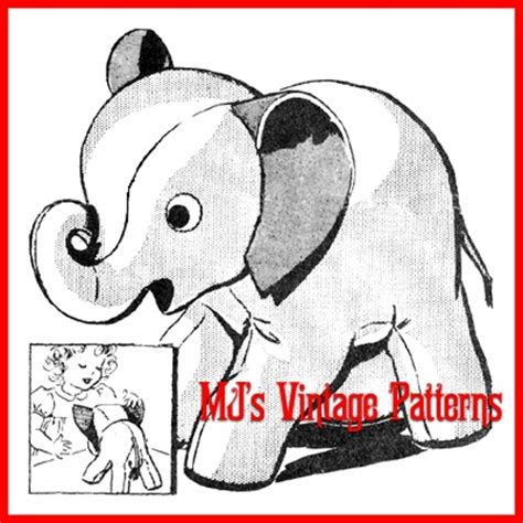 vintage elephant pattern stuffed elephant vintage pattern with curled up trunk