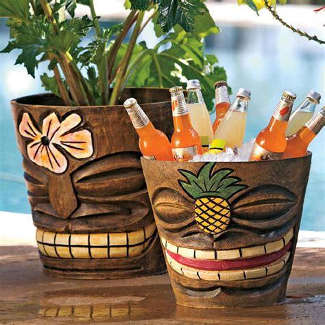 Tiki Flower Pots / Ice Buckets   The Green Head
