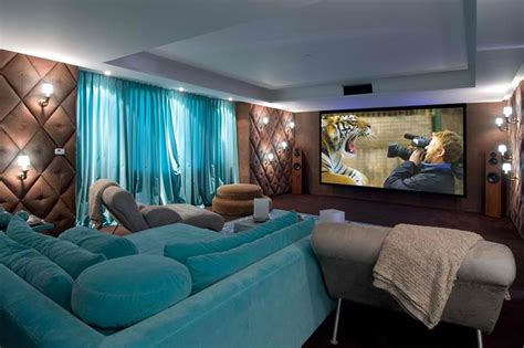 Turquoise and brown home theater room decorating ideas