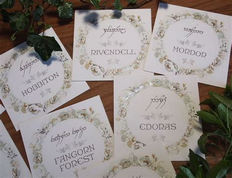 elvish wedding table names lord of the rings wedding