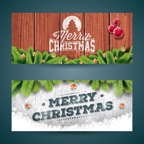 vector merry christmas banner illustration  typography design  pine tree branch