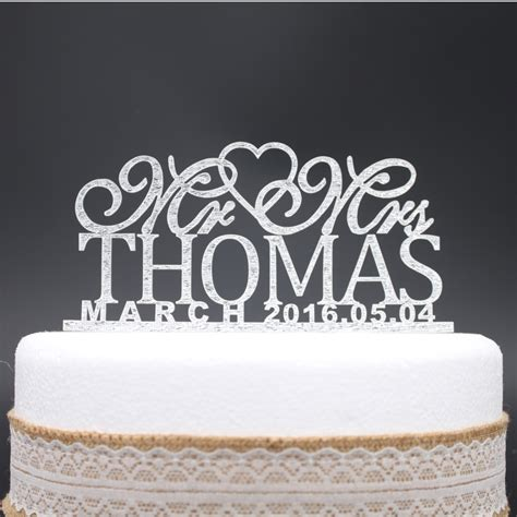 Date At Wedding Shop personalized name date wedding acrylic cake topper