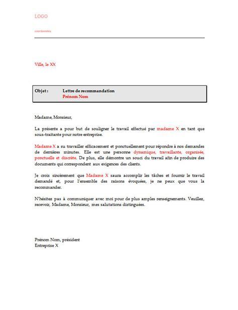 Courrier Demande Lettre De Recommandation Lettre De Recommandation Pour Sous Traitant Ou Sous Traitante Lettre De Recommandation