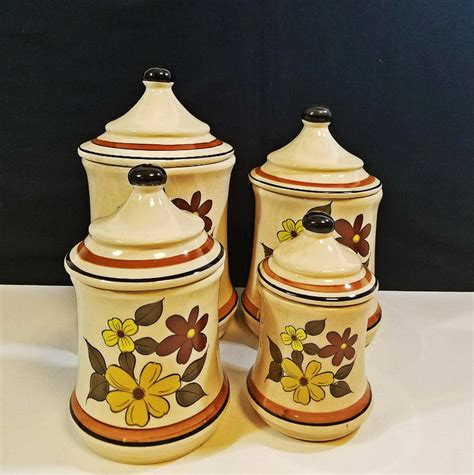 kitchen canister set metal yellow flower by by ceramic brown and yellow flowers canister set