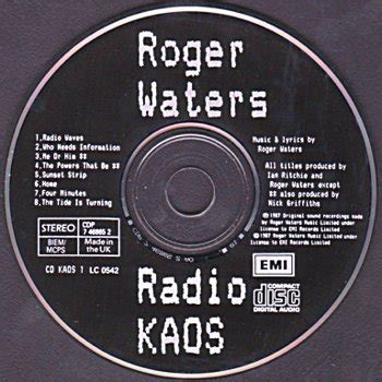 Kaos Pinkfloyd 7 roger waters radio k a o s cdp 7 46865 2 united kingdom