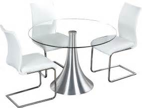 table a ronde en verre et metal chrome comforium