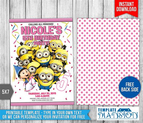 minion birthday card template minions birthday invitation templates by templatemansion