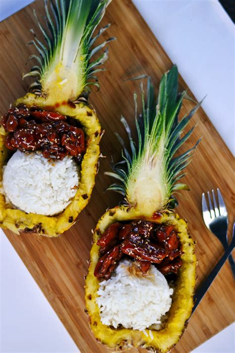 teriyaki chicken rice pineapple boats ambs loves food - Pineapple Chicken Boat