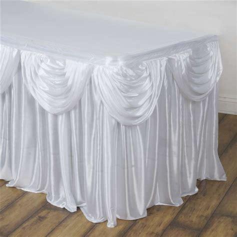 drape table white double drape table skirt satin 17 live n lavish