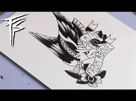 timelapse traditional eagle tattoo flash shading part