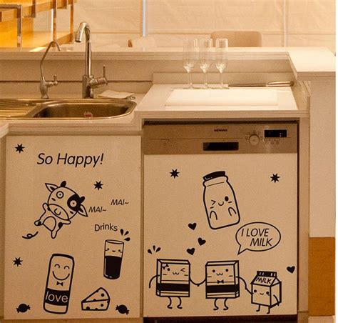 decals for kitchen cabinets cartoon happy cooking art mural decor poster kitchen tile