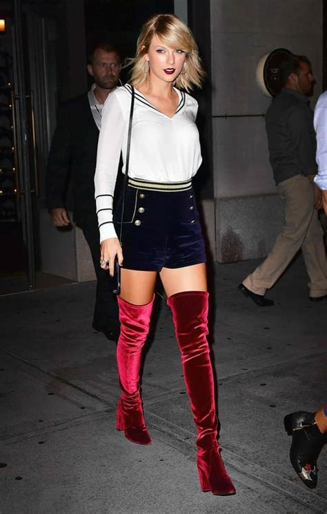 taylor swift red velvet thigh high boots newhairstylesformen2014 com taylor swift kendall jenner gigi hadid are all about