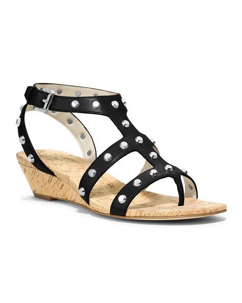 studded wedge sandals michael kors studded wedge sandal in black lyst