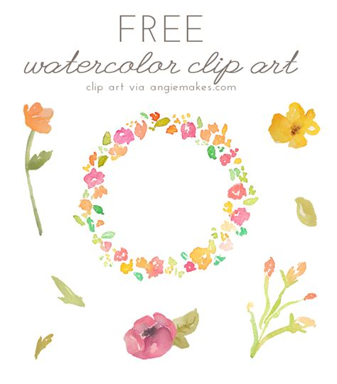 free printable watercolour flowers angie makes free watercolor flower clipart