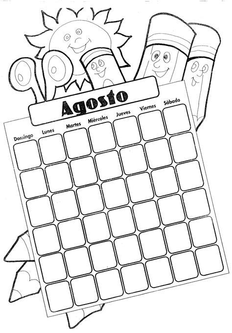 Calendario Y Sus Dibujos Portadas Mes De Agosto Para Colorear Imagui