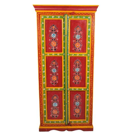 hand painted indian cabinets new delhi red floral hand painted 2 door wardrobe