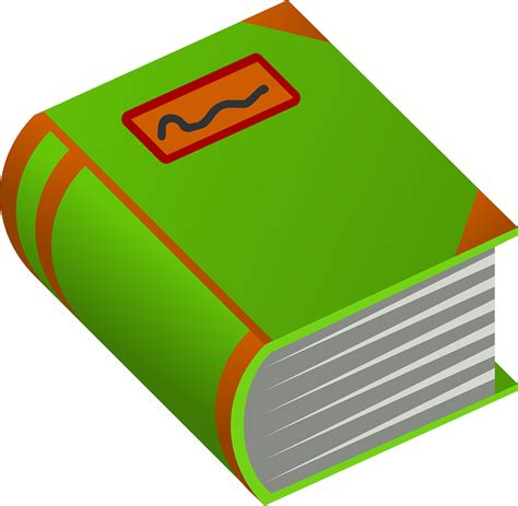 clipart libro green orange free books book thick and