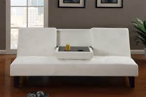 White leather button tufted style adjustable futon sofa bed