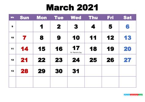 march  printable calendar  holidays word