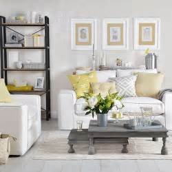 dove grey living room with yellow cushions living room