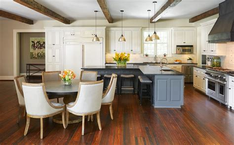Delightful L Shaped Island Kitchen Transitional with Eat