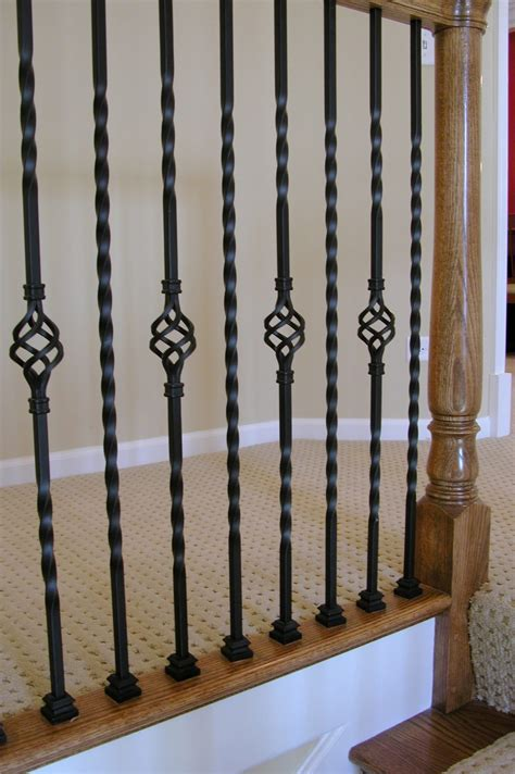 wrought iron banisters 16 1 3 t hollow single basket iron baluster