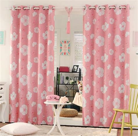 elegant cream beige poly cotton lace girls bedroom curtains pink floral print poly cotton blend beautiful bedroom curtains