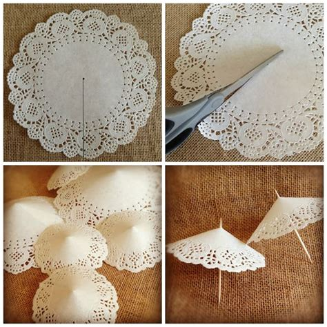Doily Paper Craft - como hacer sombrillitas de blonda how to do doilies mini