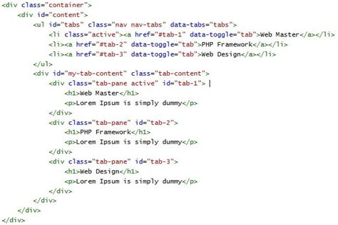 membuat konten html cara membuat tab konten menggunakan bootstrap