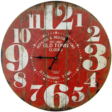rustic crackle face oversize wall clock transitional large antique clock faces online