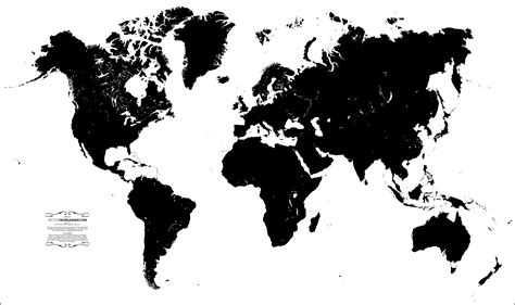 map world black and white vector world map a free accurate world map in vector format
